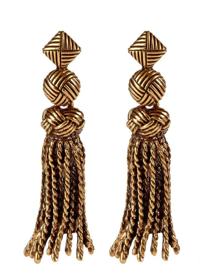 Oscar de la Renta Knot And Tassel Earrings