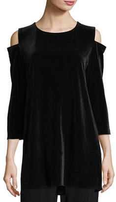 Caroline Rose Petite Stretch Velvet Cold-Shoulder Tunic