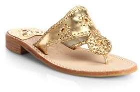 Jack Rogers Women's Palm Whipsticthed Beach Sandal - Gold - Size 6