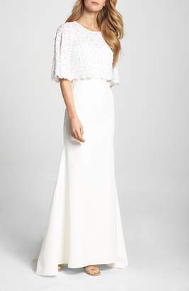 LOTUS THREADS Elbow Sleeve Lace Overlay Gown