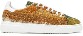 By Walid 17th Century Panelled Low Top Trainers - Mens - Green Multi