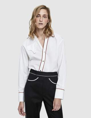 Lorod Asymmetrical Placket Shirt in White/Rust