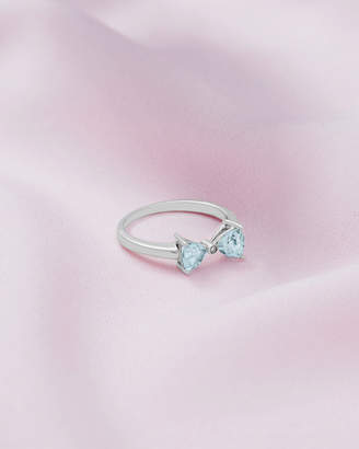 Ted Baker BIJUU 9ct white gold and blue topaz bow ring