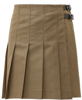 MSGM Pleated Wool Blend Houndstooth Mini Skirt - Womens - Brown