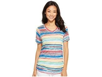 FDJ French Dressing Jeans Sunrise Stripe V-Neck Top Women's T Shirt