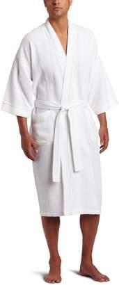 Majestic International Men's Somerset Spa Woven Waffle Kimono Robe