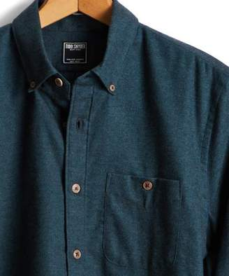 Todd Snyder Brushed Cotton Cashmere Twill Shirt in Dark Teal