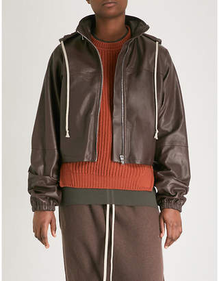 Rick Owens Cropped leather hooded jacket
