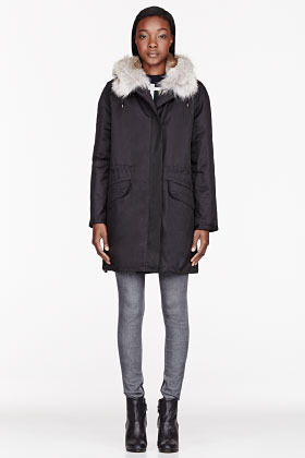 Yves Salomon ARMY BY Black Coated cotton Fur-lined layered Parka