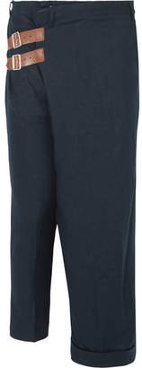 Facetasm Leather-trimmed Linen Wide-leg Pants