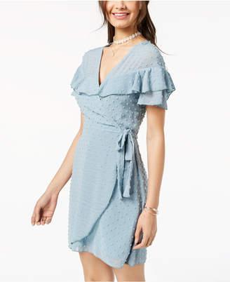 Teeze Me Juniors' Ruffled Clip-Dot Faux-Wrap Dress