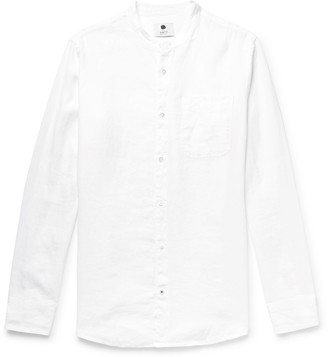 NN07 Justin Grandad-Collar Garment-Dyed Linen Shirt - Men - White