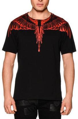 Marcelo Burlon Feather-Print Short-Sleeve Tee, Black/Red $230 thestylecure.com