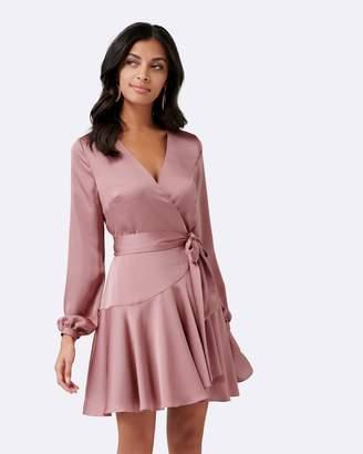 Forever New Peach Long Sleeve Wrap Mini Dress