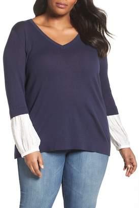 Sejour Mix Media Sweater (Plus Size)