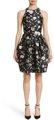 Carmen Marc Valvo Couture Embellished Applique Floral Jacquard Cocktail Dress