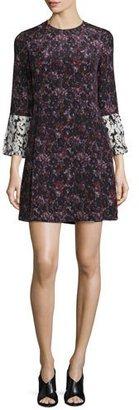 Derek Lam 10 Crosby Bell-Sleeve Floral Silk Mini Dress, Ink/Multicolor $595 thestylecure.com