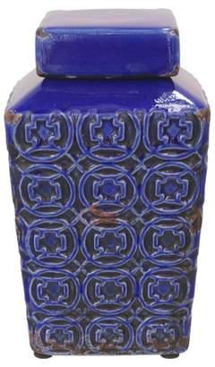 Cobalt Rosetta Style Ceramic Temple Jar