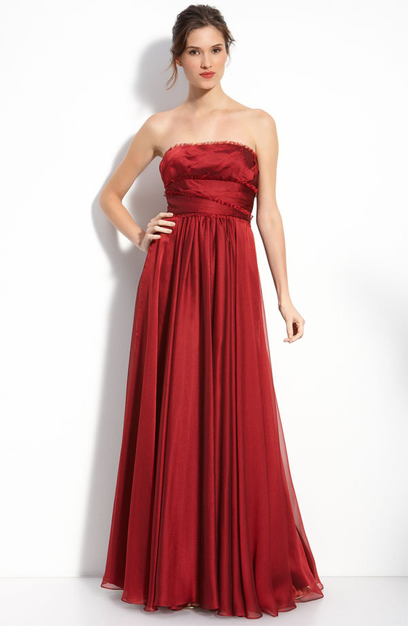 ML Monique Lhuillier Bridesmaids Strapless Chiffon Gown (Nordstrom Exclusive)