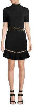 Alice + Olivia Evelyn Mock-Neck Short-Sleeve Fit-and-Flare Dress