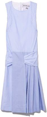 Carven Pleated Striped Dress in Baby Blue/Blanc