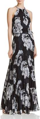 Avery G Floral Pleated Chiffon Gown