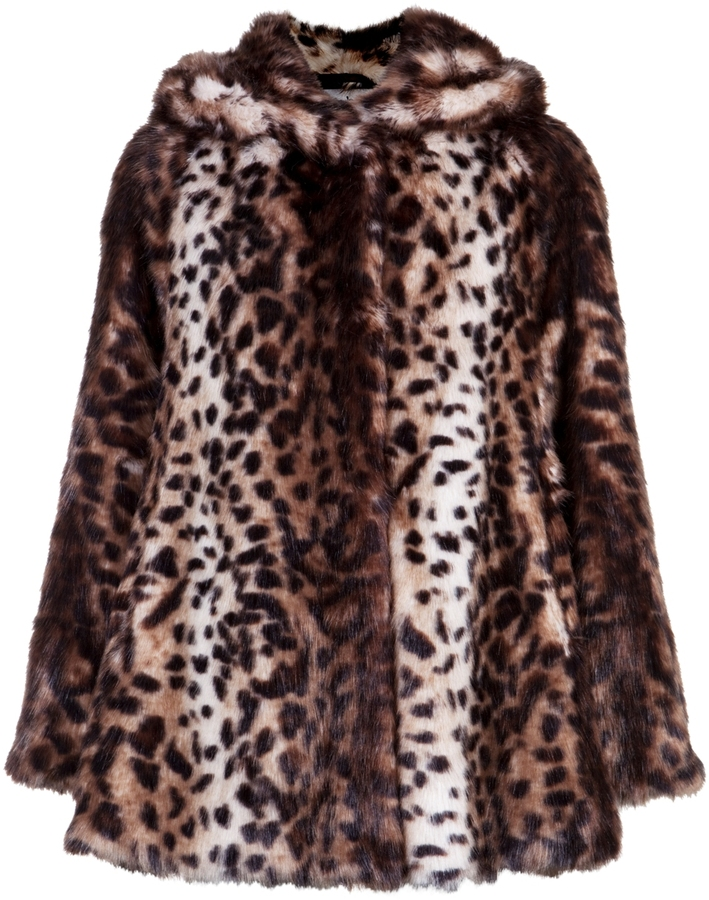 Marble Faux Fur Leopard Hooded Coat