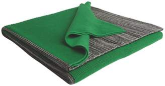 Green Cotton Peggy Grey and knitted throw 150 x 200cm