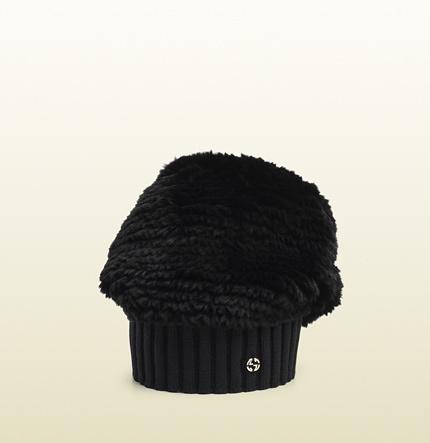 Gucci Black Fur Knitted Wool Hat