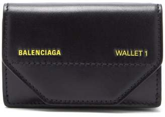 Balenciaga Etui Logo Embellished Leather Mini Wallet - Mens - Black