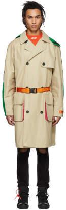 Heron Preston Beige and Mulitcolor Trench Coat