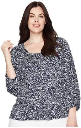 MICHAEL Michael Kors Size Paisley Fleur Peasant Top Women's Short Sleeve Knit