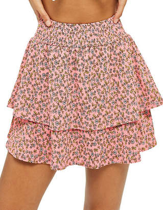 Topshop Daisy Shirred Mini Skirt