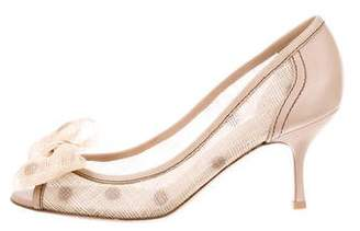 Valentino Bow-Accented Woven Pumps