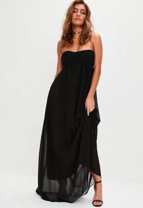 Missguided Black Gathered Chiffon Maxi Dress