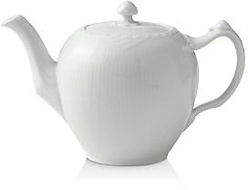White Fluted Half Lace Tea Pot