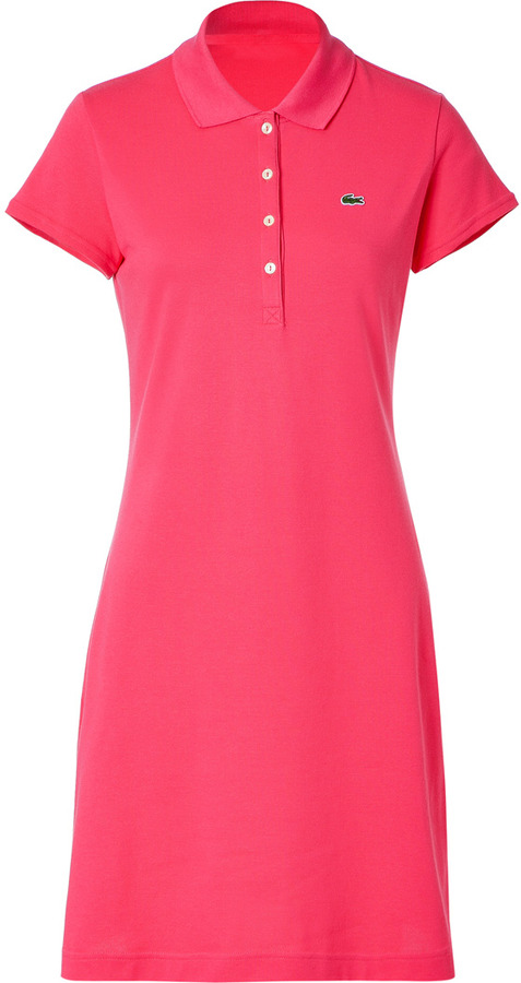 Lacoste Hot Pink Cotton Stretch Short Sleeve Polo Dress