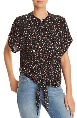 Olivaceous Floral Tie-Front Shirt