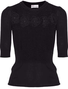 RED Valentino Embroidered Point D'esprit-Paneled Wool Sweater