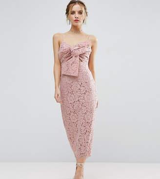 Asos Lace Cami Bow Front Midi Pencil Dress