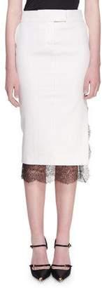 Tom Ford Light Mikado Lace-Hem Trouser Skirt