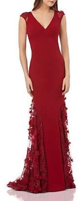 Carmen Marc Valvo Embellished Crepe Gown