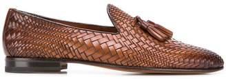 Santoni woven tassel loafers