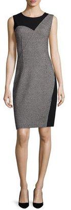 Elie Tahari Carmen Sleeveless Two-Tone Sheath Dress, Black $398 thestylecure.com