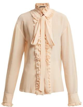 Haider Ackermann Sophora Ruffled Silk Crepe Blouse - Womens - Pink