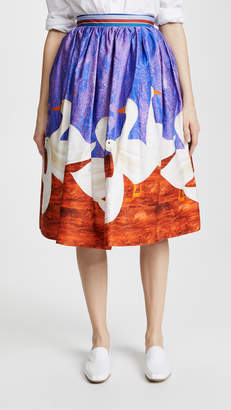 Stella Jean Duck Print Circle Skirt with Crinoline