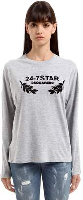 DSQUARED2 Flock Printed Cotton Jersey T-Shirt