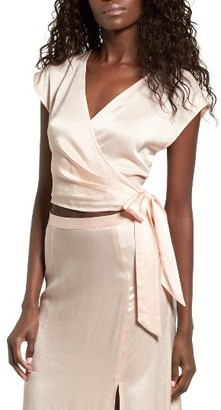 Women's Leith Crop Satin Wrap Top $55 thestylecure.com