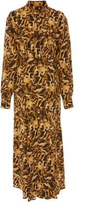 Victoria Beckham Animal Print Pleated Crepe Shirt Dress
