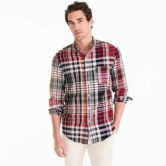 J.Crew Indian madras shirt in mixed red plaid
